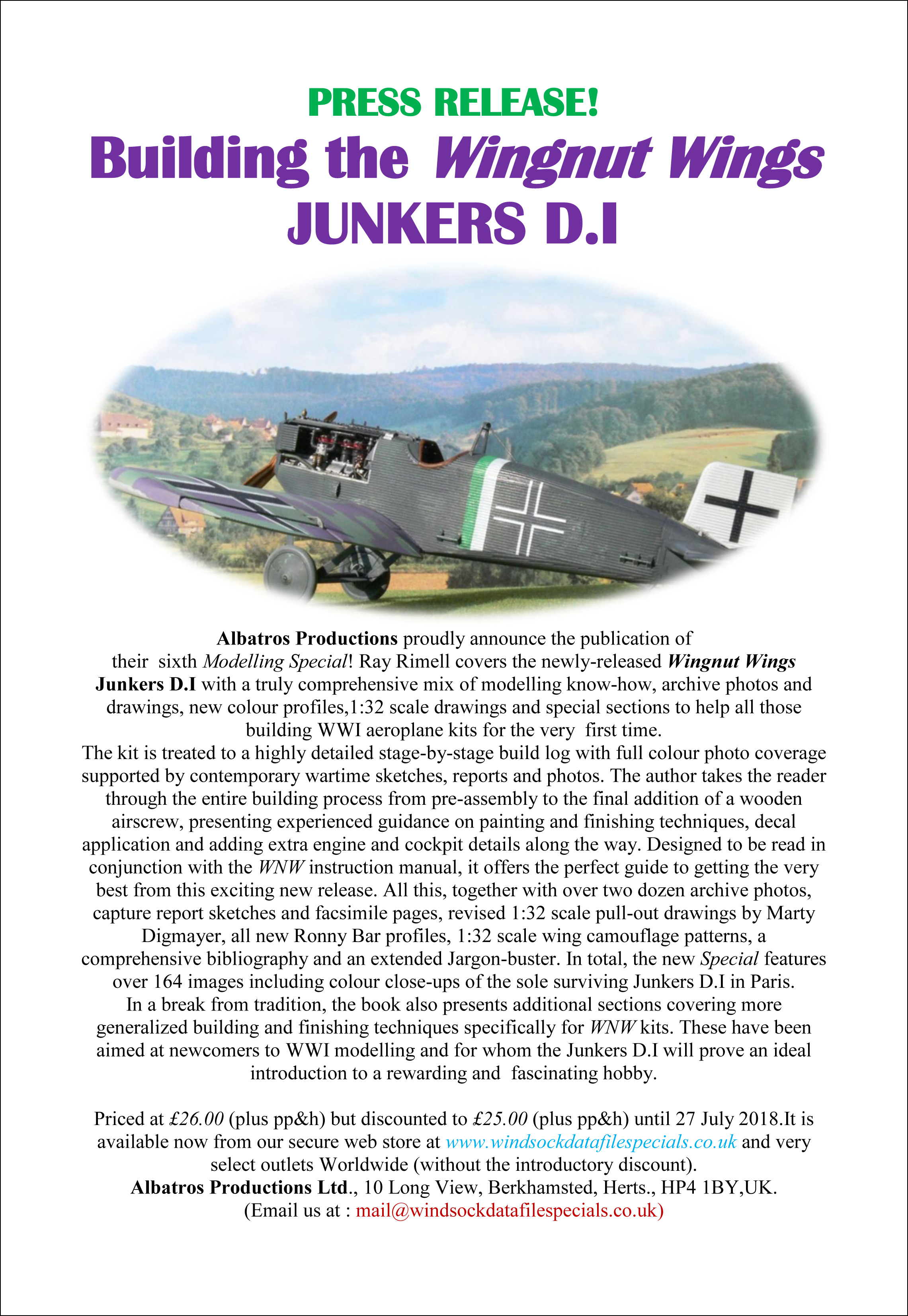 JUNE 2018- WINGNUT WINGS JUNKERS D.I SPECIAL NOW ON SALE at www ...
